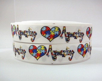 7/8 inch Autism Heart Amazing Puzzle - Printed Grosgrain Ribbon for Hair Bow