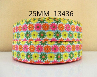 1 inch Daisies (Orange, Hot Pink, Yellow and Green) 13436 - Flowers - Printed Grosgrain Ribbon for Hair Bow