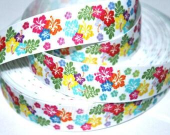 1 inch Little Bitty Flower Garden - Flowers - Printed Grosgrain Ribbon for Hair Bow