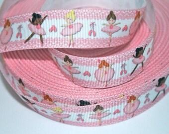 7/8 inch Ballerina CUTIES - Ballet - Printed Grosgrain Ribbon for Hair Bow