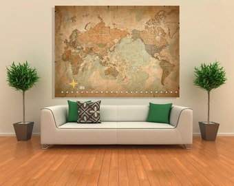 Wall Art Giclee Canvas Picture Print Gallery Wrap Ready to Hang - Antique Old Vintage World Map - 60x40 48x32 36x24 24x16 18x12 3.2