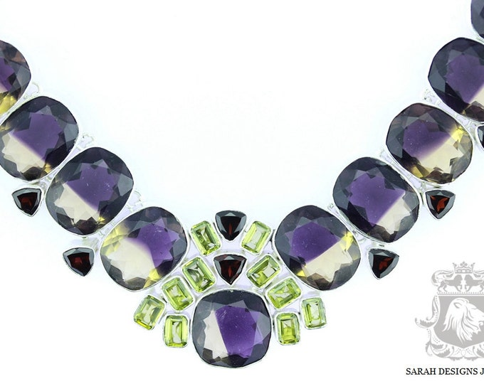 301 Carats Combined Lab Created Simulated AMETRINE Peridot 925 SOLID Sterling Silver Necklace