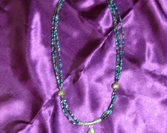 Paua Shell pendant and irridescent seed bead necklace
