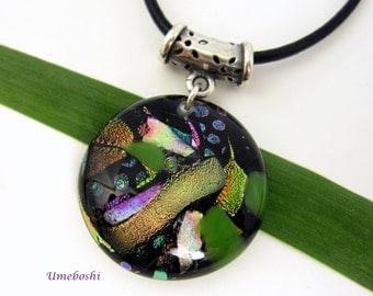 ON SALE! Dichroic Handmade Round Fused Glass Cabochon Pendant - Multicolored Bits and Pieces on Black Base by Umeboshi Jewelry Designs