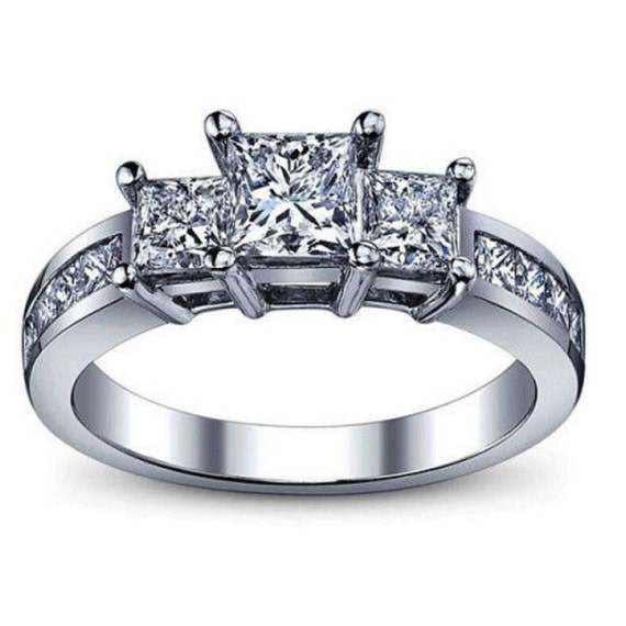 Items similar to 2 00 Carat Princess Cut Three Stone Diamond Engagement Ring