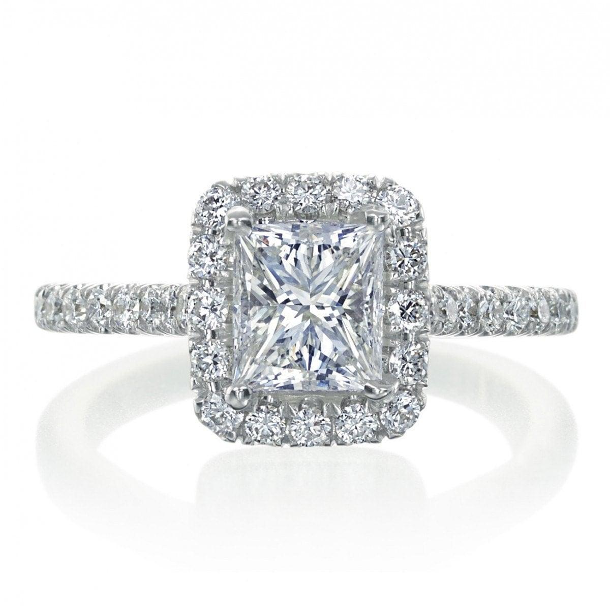 2 00 Carat Princess Cut Halo Diamond Engagement by MazelandBroche