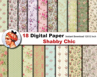 18x Shabby Chic digital paper - Digital paper patterns - Scrapbooking Paper, Instant Download (No. 18)