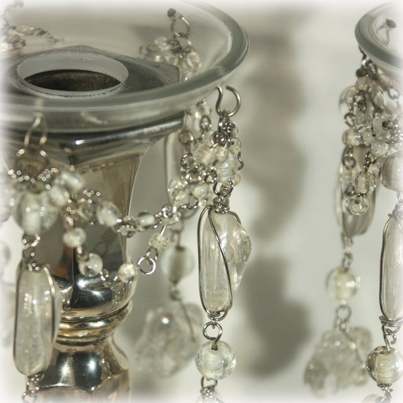 Beaded Swag Glass Bobeche Candle Ring Freeform By