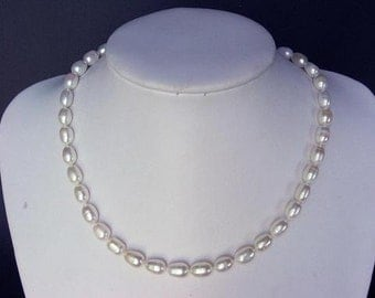 Necklace Fresh Water Pearl White 10mm Rice Strand NHPW0059