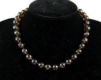 Necklace Smokey Quartz AB 12mm Facet Round Beads NSSQ4212