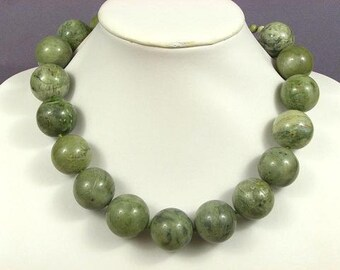 Necklace Olive Turquoise Howlite 25mm round beads 925 NSTO5043