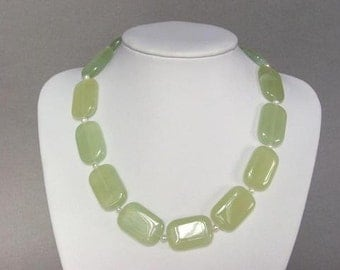 Necklace New Jade Large 28mm Flat Pillows 925 NSNJ1057
