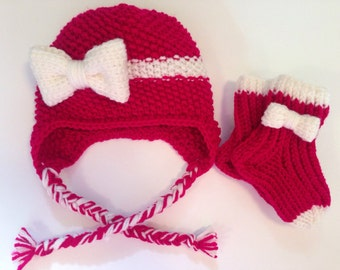 Custom knit Hat with a bow and Socks/slippers girl. Makes  great gift!