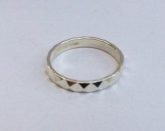 Sterling silver pyramid ring/silver stacking ring/hallmarked silver ring