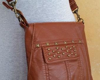 Mahogany Vegan-Leather Crossbody Purse Handmade from Upcycled Jacket