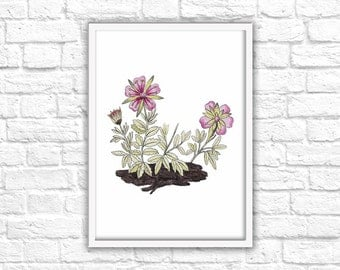 Pink Flowers Print - Instant Download - Printable Wall Art Decor