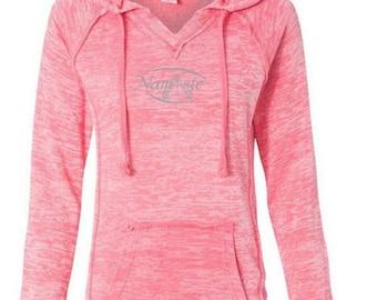 Ladies Namaste Lightweight Hoodie Yoga Tee Shirt - W1162-NAMASTE