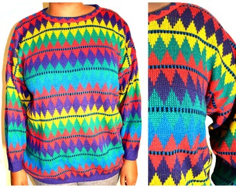 colorful diamond sweater