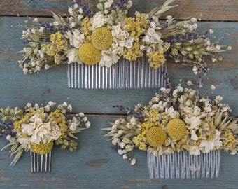 Boho Sunshine Dried Flower Hair Comb