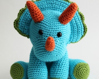 Charming Blue Crochet Triceratops