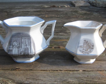 Vintage Ironstone Sugar Bowl and Cream Pitcher with Transferware Images