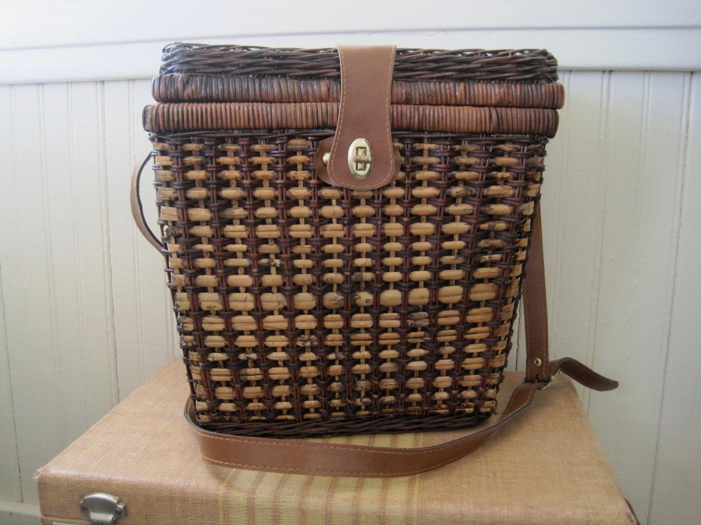 Picnic Basket Dish Set : Vintage wicker picnic basket with dinnerware set haute juice
