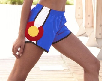 Colorado Flag Shorts / Ladies Running Shorts / Women's Colorado Gift Sewn in Colorado / Colorado Hiking / Colorado Climbing