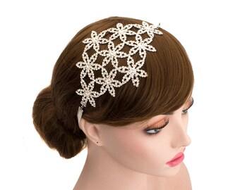Luxurious Floral Bride Rhinestone Headpiece Wedding Bridal Headband Hair Accessories