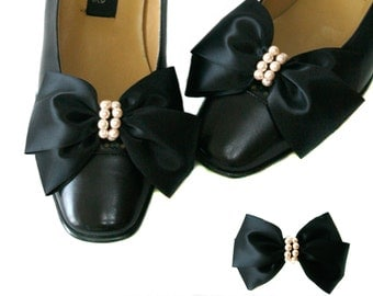 Satin Big Bow Pearl Shoe Clips, Shoe Ornaments clips