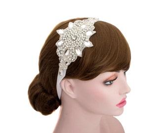 Tiara Rhinestone Headpiece,Wedding Headband, Bride Hair,Bridesmaid Ribbon Tie Hair Band-WH10R131