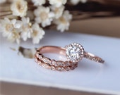 1ct Brilliant Moissanite Engagement Ring 3 Ring Set Solid 14K Rose Gold Wedding Ring Set Moissanite Ring Set Anniversary Ring Set
