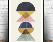 Abstract poster, minimalilst print, mid century modern, Scandinavian print, Geometric art, Pastel colors decor, Watercolor print, Nordic art