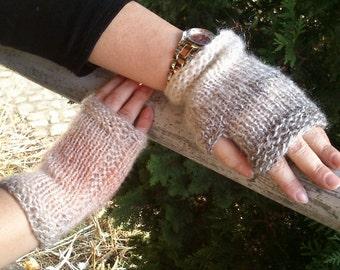 Beige Mittens, Mohair Fingerless Gloves