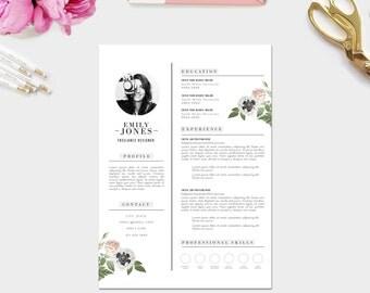 Instant Digital Download / Word Format + PSD / CV Template + Cover Letter, 3  Floral Designer Resume