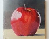 Small 8x8 Wood Panel - Red Apple - Fruit Painting