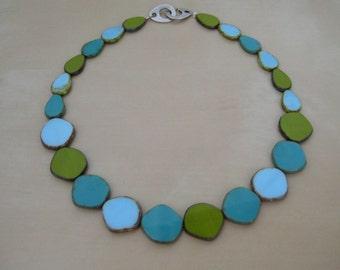 Modern short necklace made with Czech table-cut glass beads, green, lightblue, petrol, short necklace.