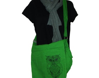 Canvas Messenger Bag, Owl Screen Printed Bag, Original Art, Celtic Knot