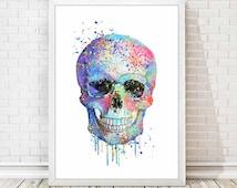 Skull Print Modern Skull Watercolor Poster Abstract Skull Mixed Media Painting Art Children Kids Baby Room Home Decor Gift Wall Decor A130