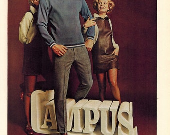 """Vintage Print Ad 1969 : Celanese Fortrel Campus """"Making you No.1 has made us No. 1"""" Advertisement Color Wall Art Decor 8.5"""" x 11"""""""