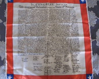 Vintage Bicentennial Declaration of Independence commemorative scarf (m-023)