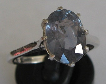 Natural change color  sapphire 3.7  ct  ring silver 925 size 7.5