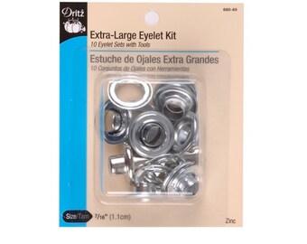 """Extra-Large Eyelet Kit Sz 7/16"""" 10Ct & Tool Zinc D660-N"""