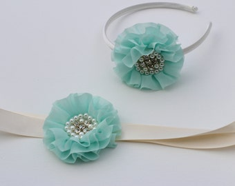 Aqua dress sash flower girl with a ivory /cream Satin headband tiffany blue wedding dress sash with matching headband girls bridesmaid sash
