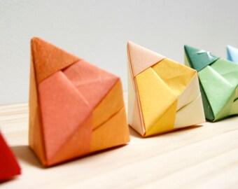 Handmade Origami Tetrahedra Decorations