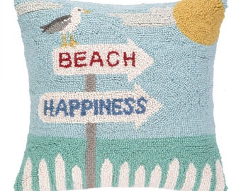 Beach Happiness Hand-Hooked Pillow
