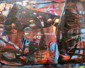 Large original abstract modern acrylic painting on paper