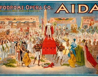 TH16 Vintage Aida Opera Theatre Poster Re-Print Wall Decor A1/A2/A3/A4