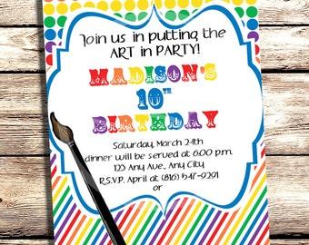 Custom Printable Art Themed Party Invitation