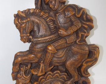 "Wax Wall Art "" Roman Soldier Slaying the Beast"" Hand Crafted"