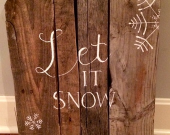Let it Snow reclaimed wood art